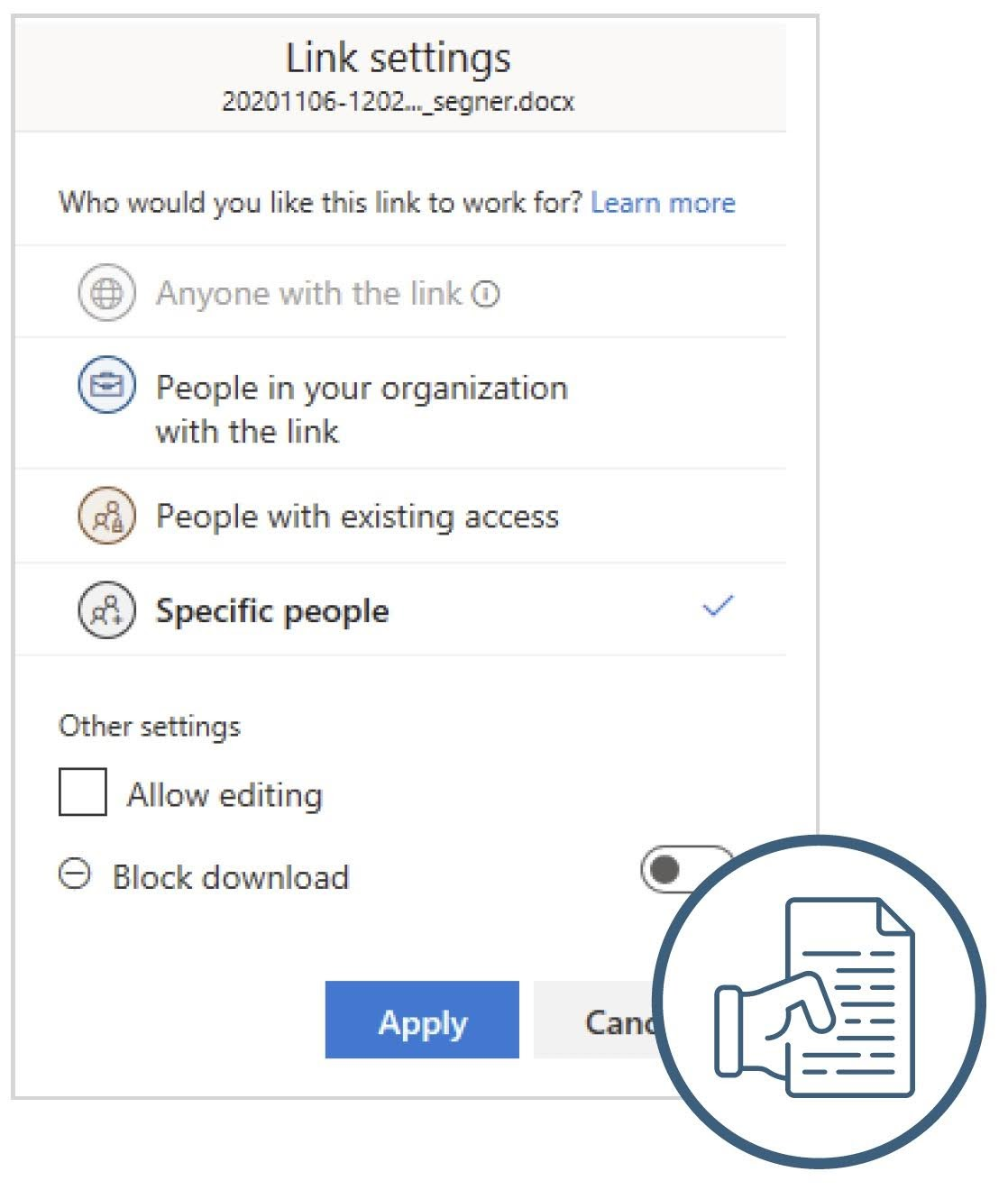 Link settings to work for specific people.