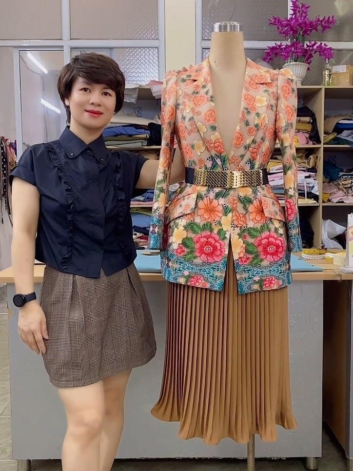 áo vest nữ dự tiệc hoa thêu in 3D thời trang thủy sài gòn