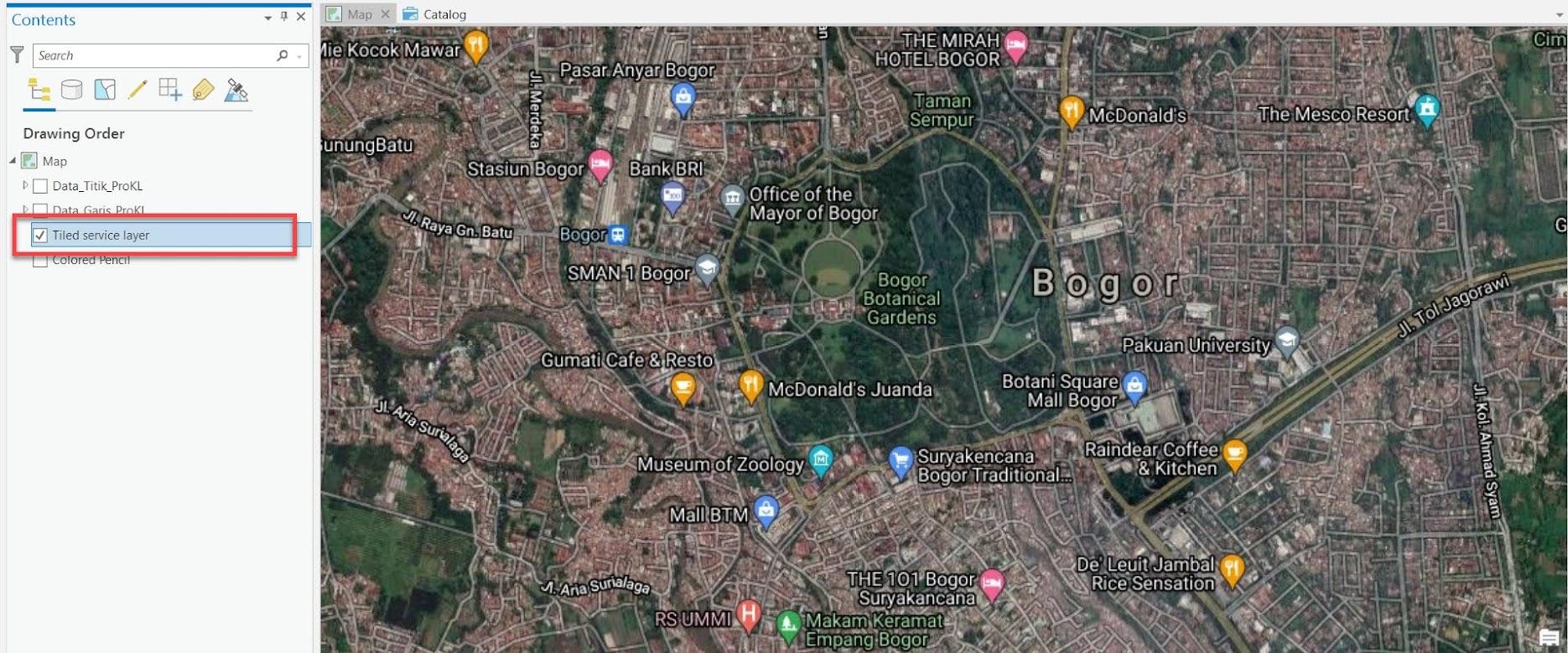 Google Maps (Hybrid) sebagai tile layer di ArcGIS Pro