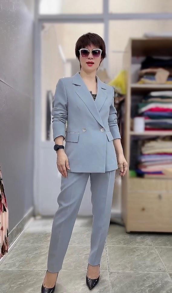 áo vest nữ dáng dài phối đồ quần baggy công sở thời trang thủy đà nẵng