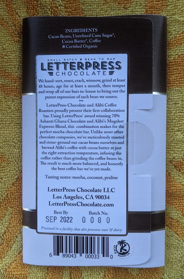 70% letterpress mocha bar