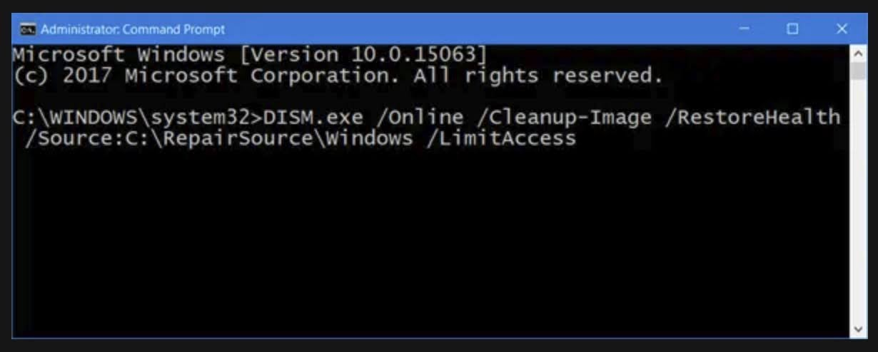 If your Windows Update client is already broken, you will be prompted to run the Windows installation media as the repair source or use the Windows side-by-side folder from network share as the source of the files. Run the following command instead.