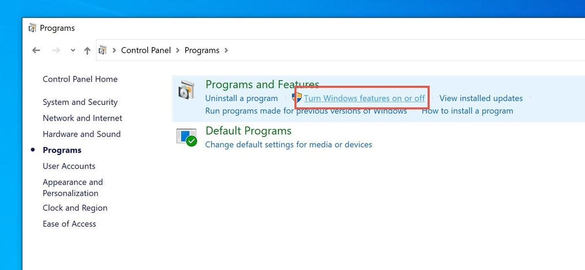 Click on the link for Turn Windows features on or off.
