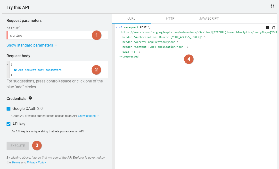 Google Search Console API > Try this API 2
