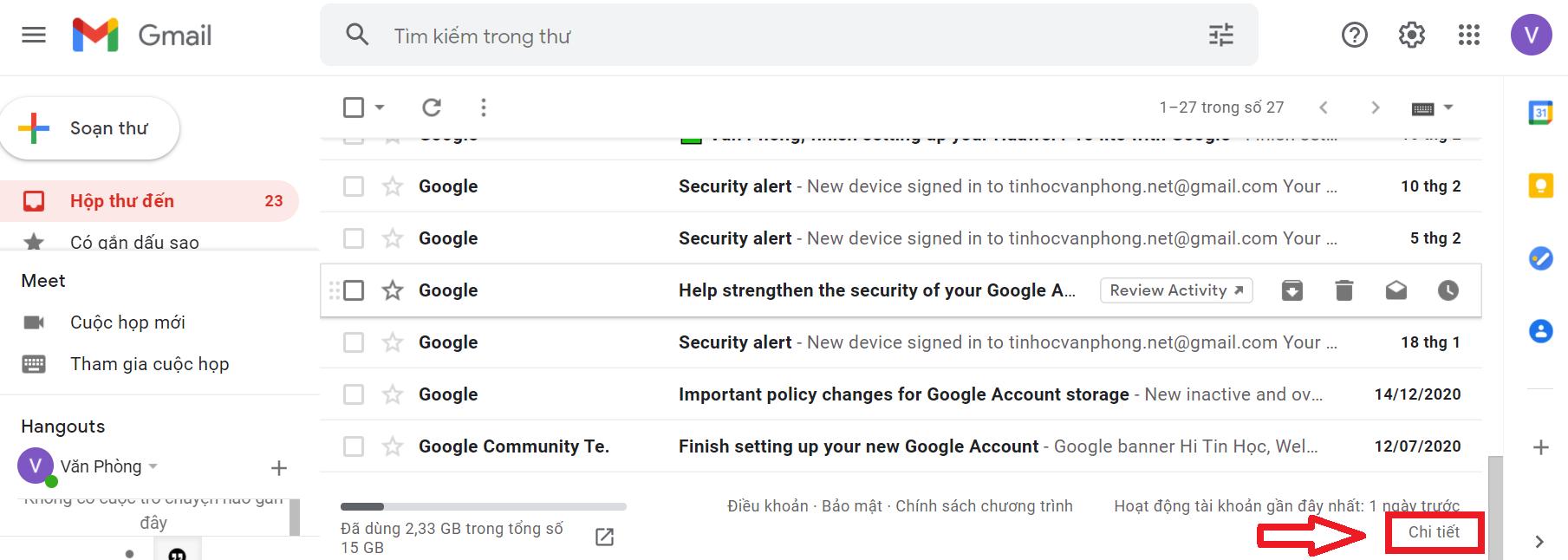 xem lịch sử đăng nhập gmail