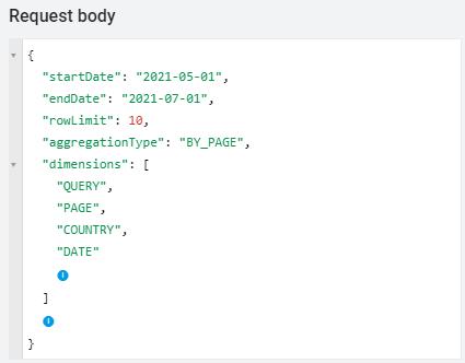 Google Search Console API > Request body