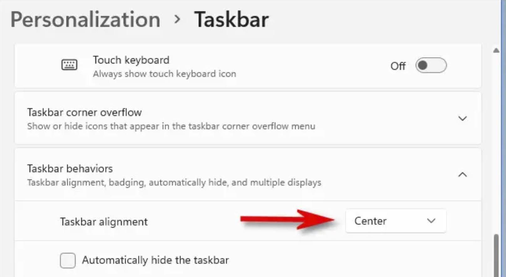 Click the drop-down menu beside Taskbar Alignment.