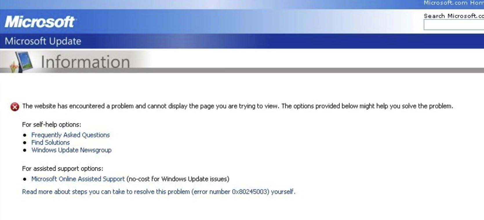 The website has encountered a problem and cannot display the page you are trying to view.