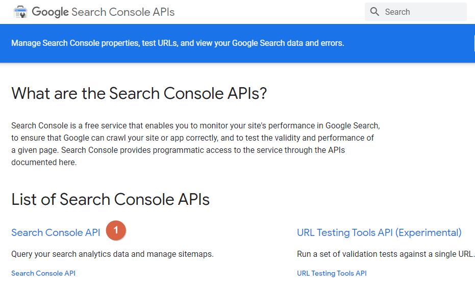 Google Search Console APIs