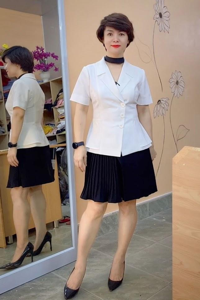 áo peplum che bụng phối đồ công sở váy xòe mặc đẹp thời trang thủy quảng ninh