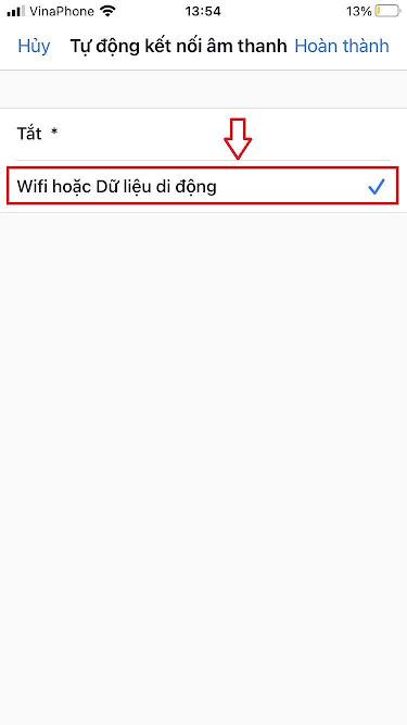 """Chọn """"Wifi hoặc Dữ liệu di động"""" để tự động kết nối âm thanh hoặc Tắt để không tự động kết nối"""