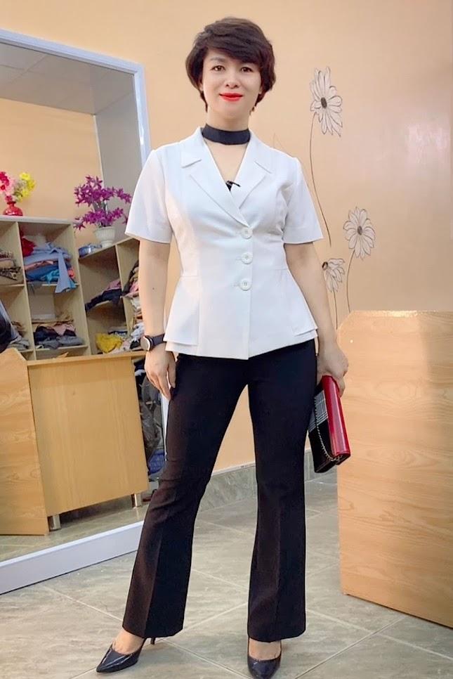 áo peplum che bụng phối đồ công sở quần ống vẩy mặc đẹp thời trang thủy hải phòng