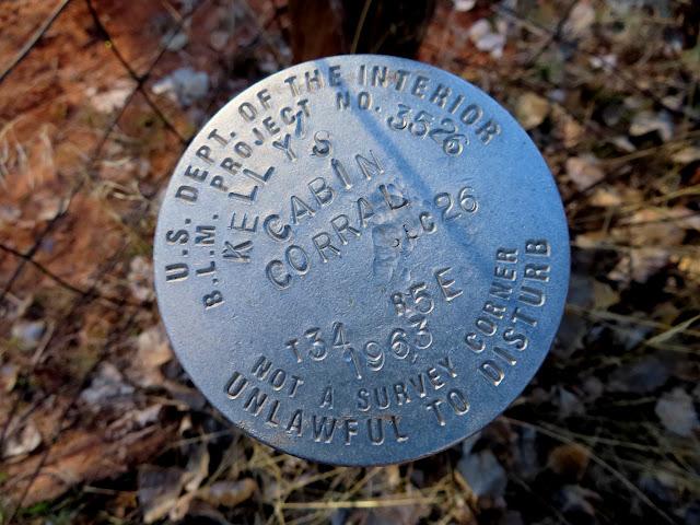 Survey marker at Kelly's Cabin