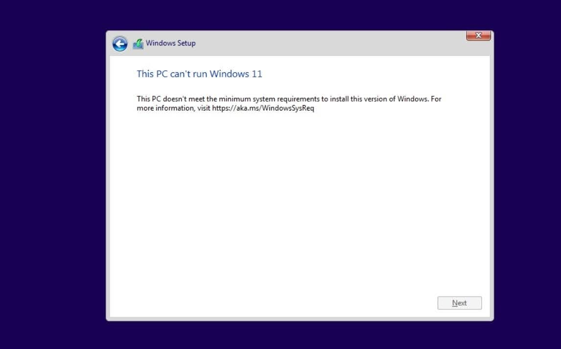 This PC can't run Windows 11. This PC doesn't meet the minimum requirements to install thise version of Windows. For more information, visit https://aka.ms/WindowsSysReq