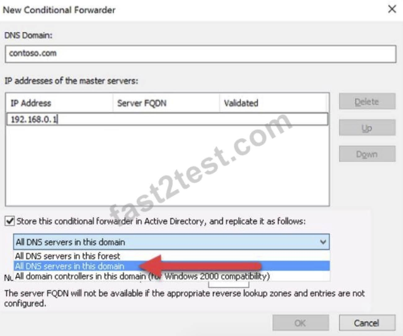 Check the box for Store this conditional forwarder in Active Directory, and replicate it as follows, then select the option for All DNS servers in this domain.