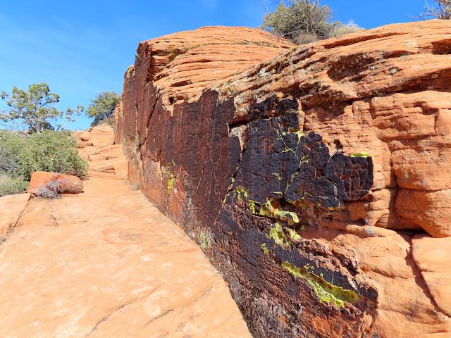 Wall of petroglyphs
