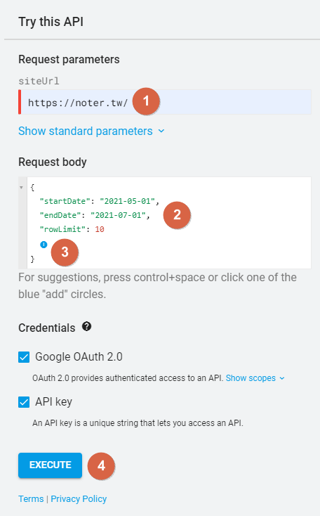 Google Search Console API > Try this API 3