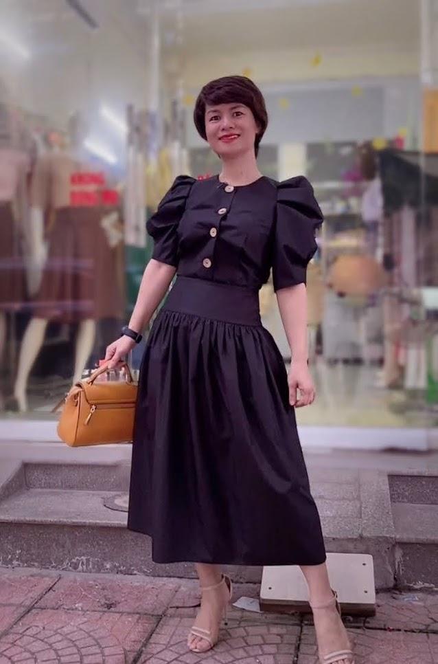 áo croptop nữ tay bống phối đồ chân váy xòe midi thời trang thủy sài gòn