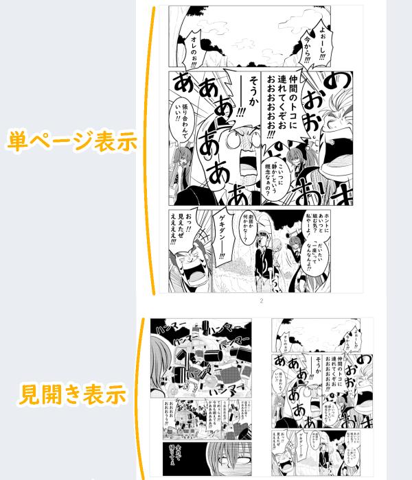 単ページと見開きページの表示