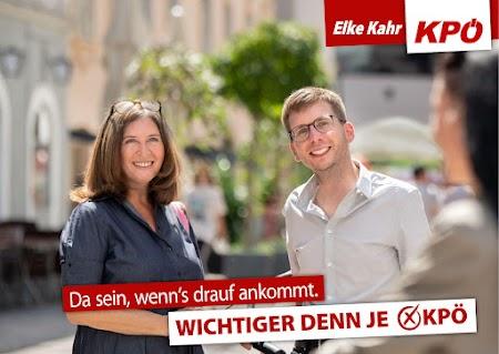 Wahlplakat mit Elke Kahr für die Kommunistische Partei Österreichs in Graz.