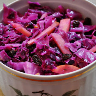 Braised Red Cabbage with Apples and Raisins.