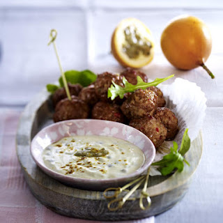 Meatballs with Passion Fruit-Curry Dip.
