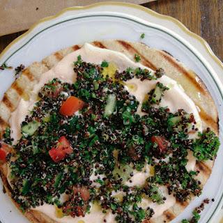 Dish of Quinoa Tabbouleh with Parsley, Pita & Yogurt