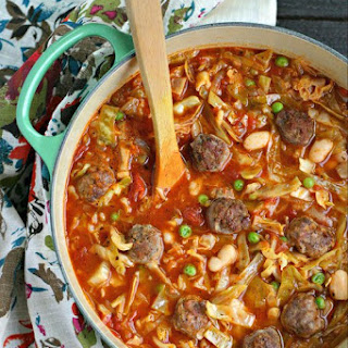 Italian Sausage Meatball Soup with Cabbage and White Beans.