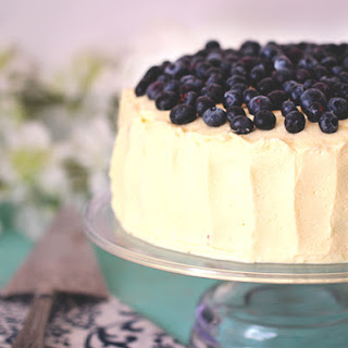 Easy Blueberry Cake with Lemon Whipped Cream Frosting.
