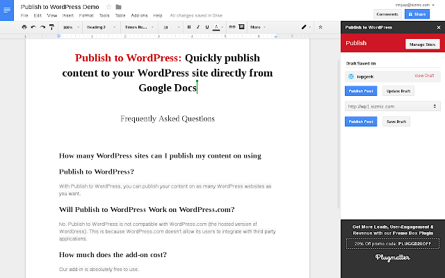 Publish to WordPress – Add-on für Google Docs Screenshot