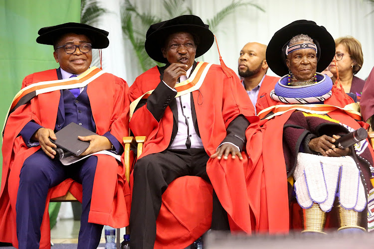 Former Ukhozi Fm boss Welcome Nzimande, Sipho Mchunu of Juluka and Esther Mahlangu were honoured with doctorate in visual and performing arts at the Durban University of Technology's Spring graduation on September 7 2018