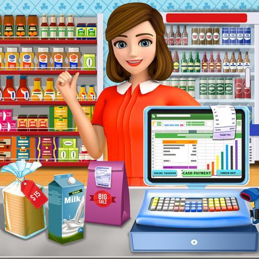 Supermarket Cash Register Sim: Girls Cashier Games