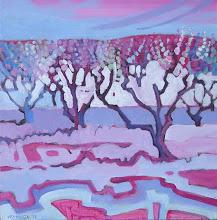 "Photo: Cherry Trees, acrylic on canvas 12"" x 12"" by Nancy Roberts, copyright 2014."