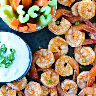 Grilled Buffalo Shrimp with Blue Cheese Dipping Sauce.