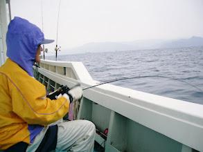 """Photo: 今日は、近海でタイラバとライトジギング!しかし、朝から雨が降って・・・。寒い! タイラバ初挑戦の""""クマガイさん""""にヒット!"""