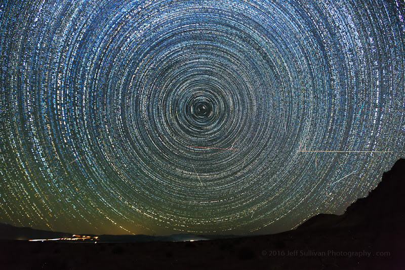 Photo: North-facing Perseid meteors August 12.  This is a composite shot of the 50+ images with meteors in them.