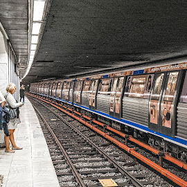 Waiting for the Train by Richard Michael Lingo - Transportation Trains ( subway, woman, bucharest, trains, transportation )