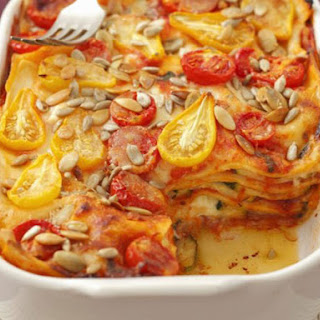 Zucchini and Tomato Lasagne with Sunflower Seeds