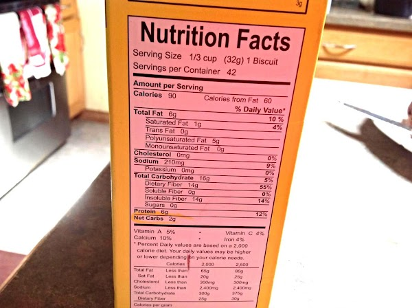Nutritional Information of Carbquick Baking Mix.