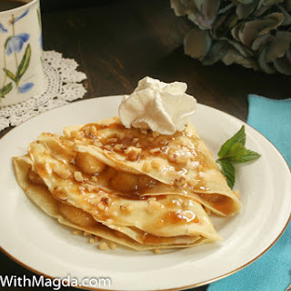 Crepes with Caramelized Bananas, Walnuts and Whipped Cream.