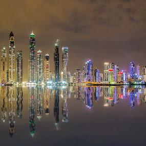 Dubai Marina Skyline by Dmitriy Andreyev - City,  Street & Park  Night (  )