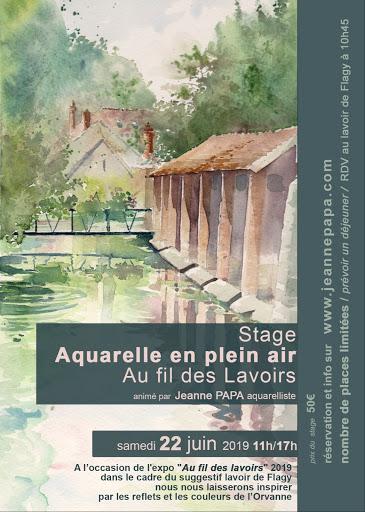 stage aquarelle Jeanne PAPA LAVOIR DE FLAGY juin 2019