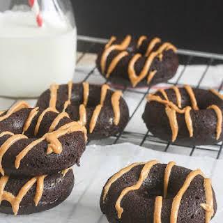 Dark Chocolate Donuts with Peanut Butter Glaze.