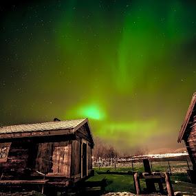 Wintercabin with polarlights by Geir Hammer - Landscapes Starscapes ( polarlight, cabin, winter, vacation, boathouse, aurora, pier, sea )