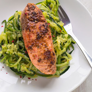 Oven Roasted Salmon with Zucchini Noodles.