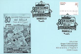 Photo: Tarjeta del matasellos del 80 Descenso Internacional del Sella, diseñado por Sandra Alonso, en Ribadesella, 2016