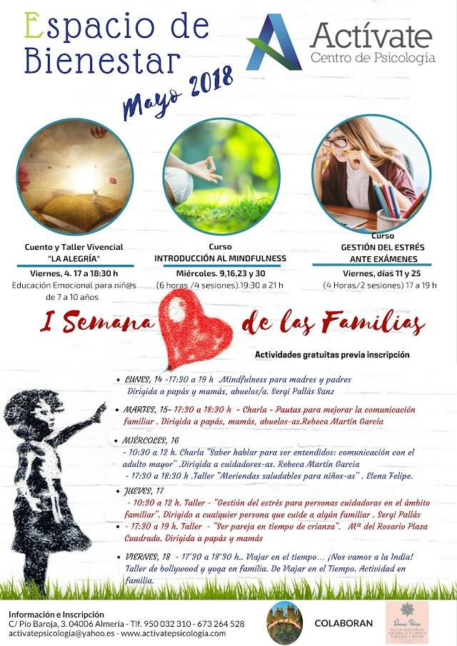 Programación de mayo en Actívate Psicologia dedicada a las Familias.