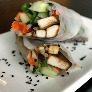 Thai Rice Wraps with Peanut Sauce.