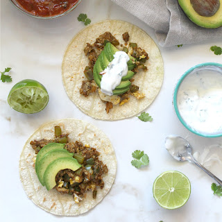 VEGGIE BREAKFAST TACOS WITH CILANTRO LIME SOUR CREAM