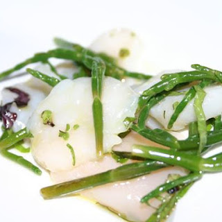 Scallop Crudo With Sea Beans And Shiso